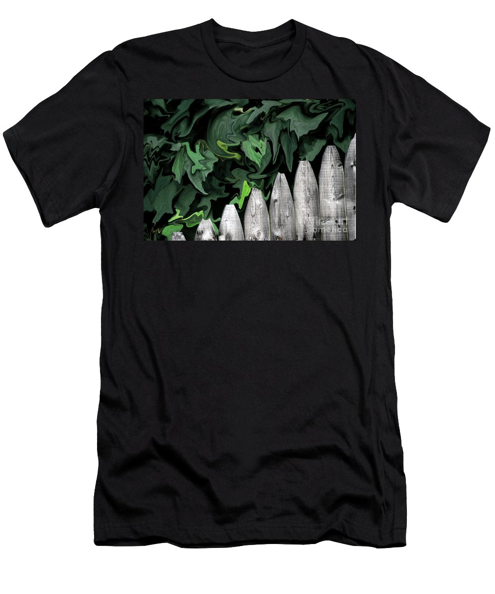 Fences Men's T-Shirt (Athletic Fit) featuring the photograph A Painting Fence And Leaves Dali-style by Mike Nellums