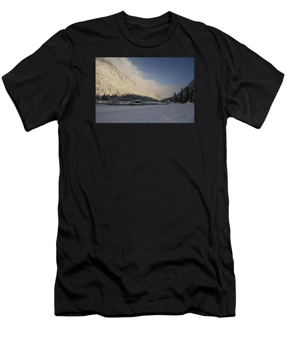 Snow Men's T-Shirt (Athletic Fit) featuring the photograph A Peaceful Snow Landsscape by Christiane Schulze Art And Photography