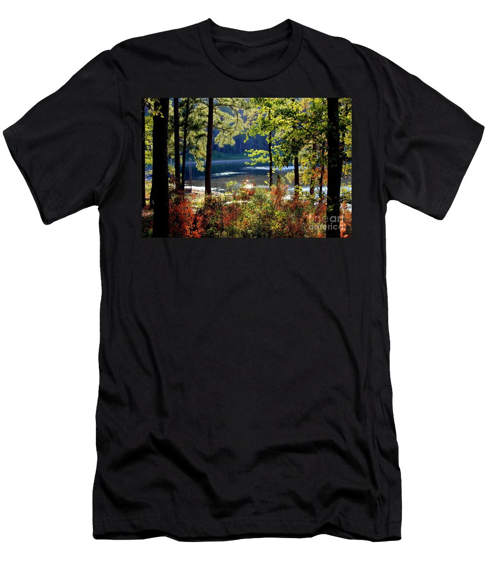 Fall Leaves Men's T-Shirt (Athletic Fit) featuring the photograph A Peek At Lake O The Pines by Kathy White