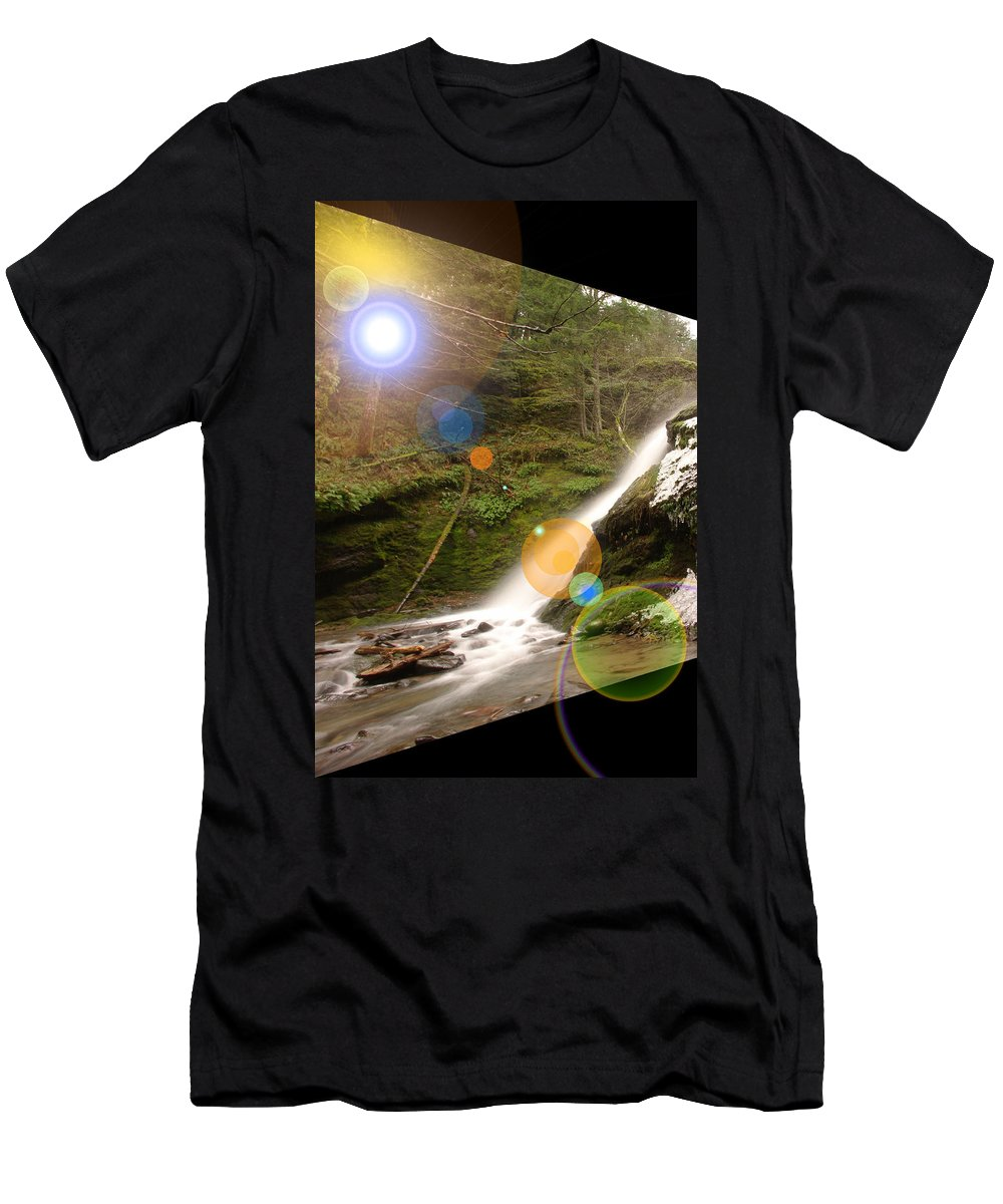 Waterfalls Men's T-Shirt (Athletic Fit) featuring the photograph A Place To Day Dream by Jeff Swan