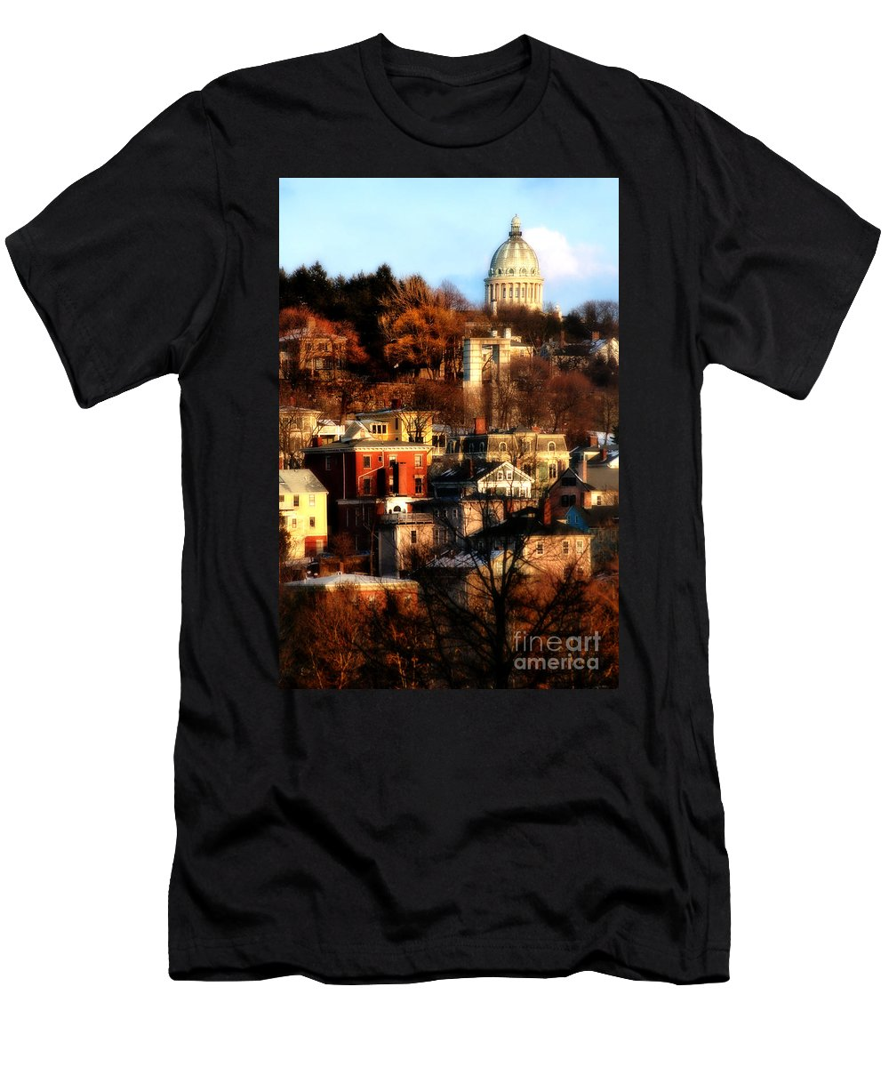 Providence Men's T-Shirt (Athletic Fit) featuring the photograph A Providence Hillside by Mike Nellums