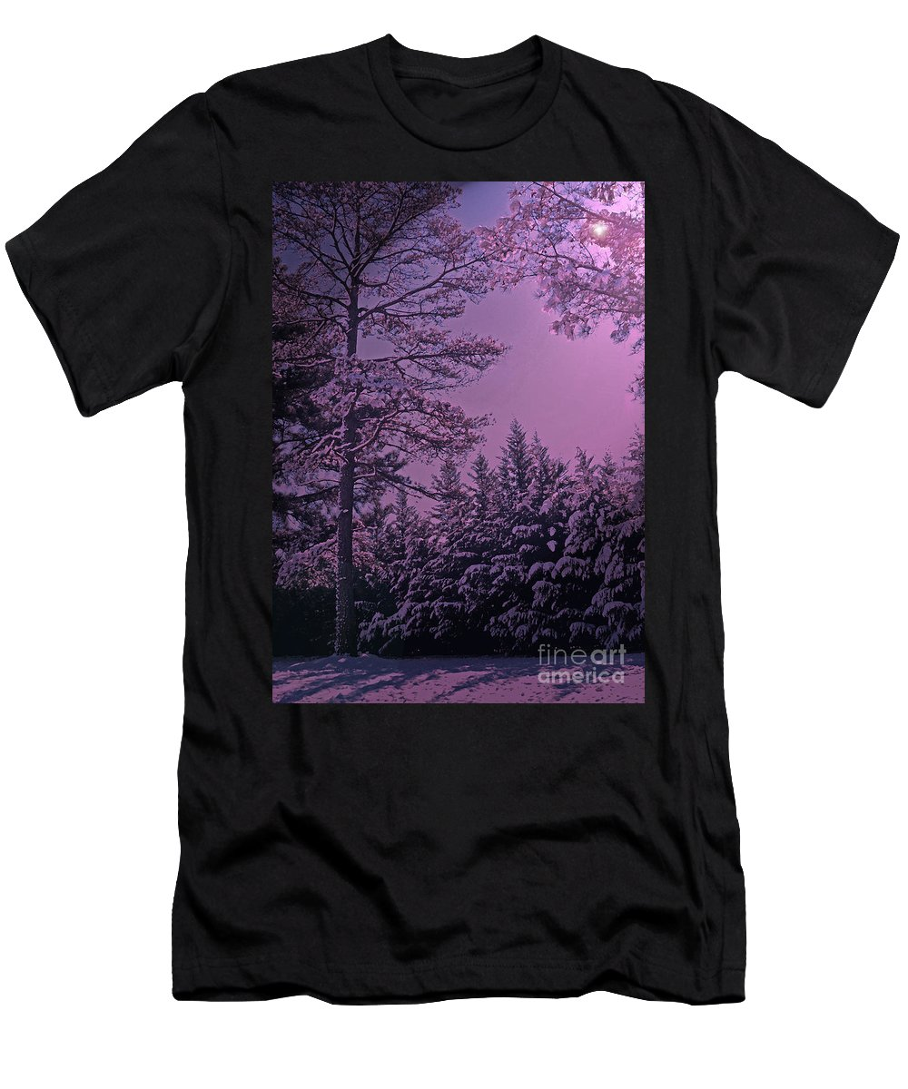 A Quiet Snowy Night Men's T-Shirt (Athletic Fit) featuring the photograph A Quiet Snowy Night by Lydia Holly