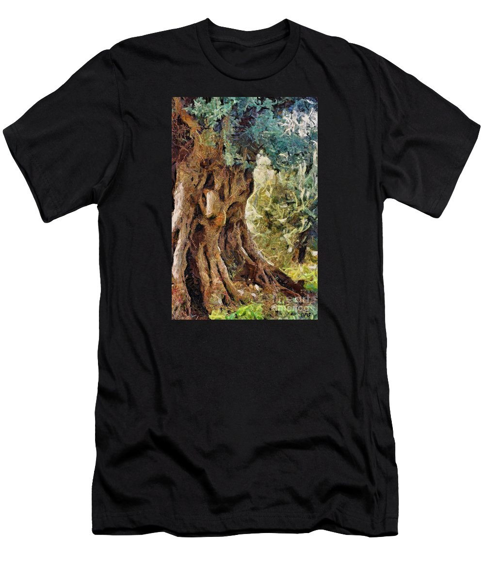 Olive Tree Men's T-Shirt (Athletic Fit) featuring the painting A Really Old Olive Tree by Dragica Micki Fortuna
