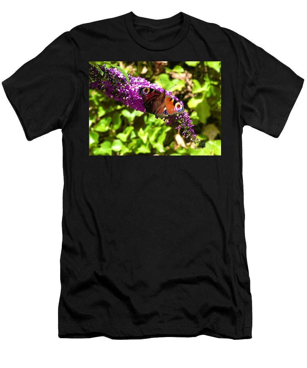 Butterflies Men's T-Shirt (Athletic Fit) featuring the photograph A Red Admiral On A Purple Budlier by Joan-Violet Stretch