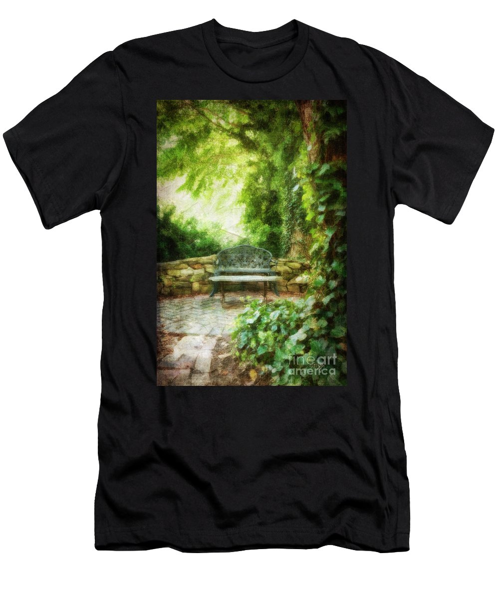Bench Men's T-Shirt (Athletic Fit) featuring the photograph A Restful Retreat by Lois Bryan