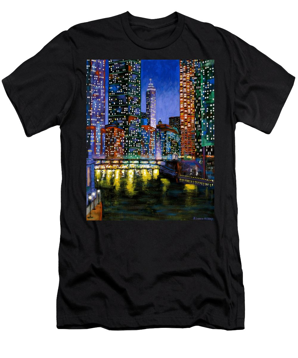 Chicago River Men's T-Shirt (Athletic Fit) featuring the painting A River Runs Through It by J Loren Reedy