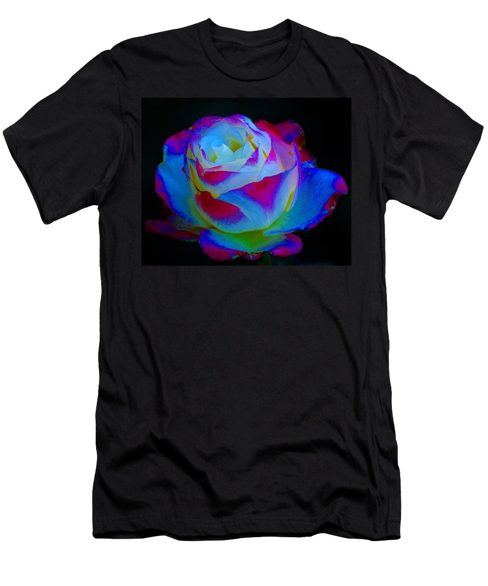 Flowers Men's T-Shirt (Athletic Fit) featuring the photograph A Rose Enhanced by Ben Upham III