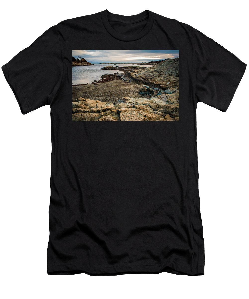 View Men's T-Shirt (Athletic Fit) featuring the photograph A Shot Of An Early Morning Aquidneck Island Newport Ri by Alex Grichenko