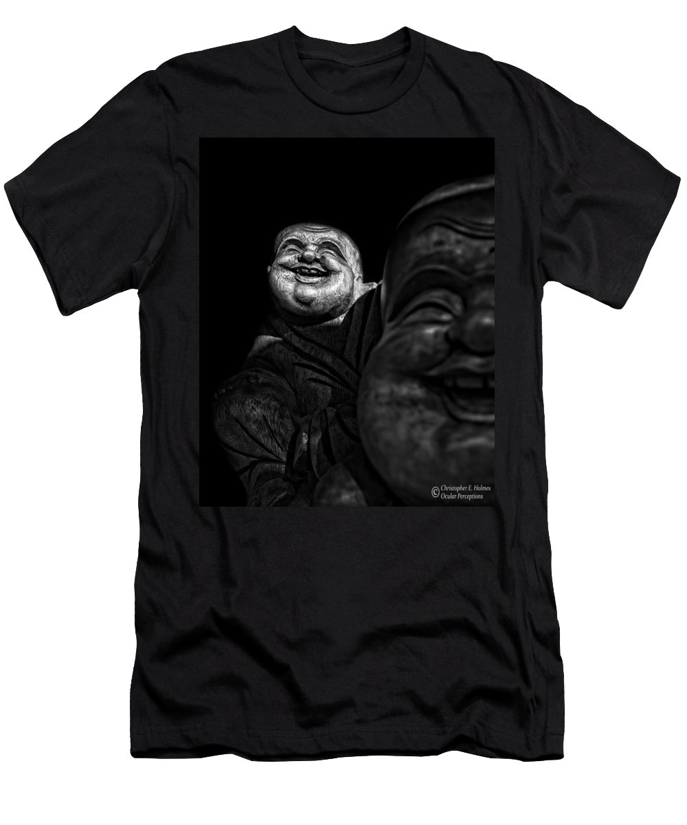 Christopher Holmes Photography Men's T-Shirt (Athletic Fit) featuring the photograph A Smile On The Shoulder - Bw by Christopher Holmes