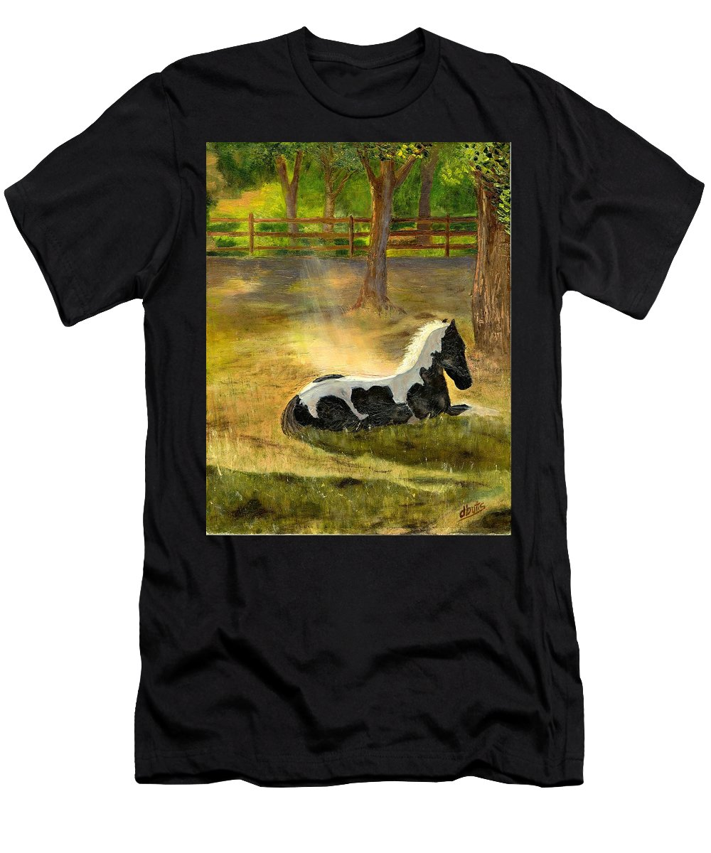 Horse Art Men's T-Shirt (Athletic Fit) featuring the painting A Spot In The Sun by Deborah Butts