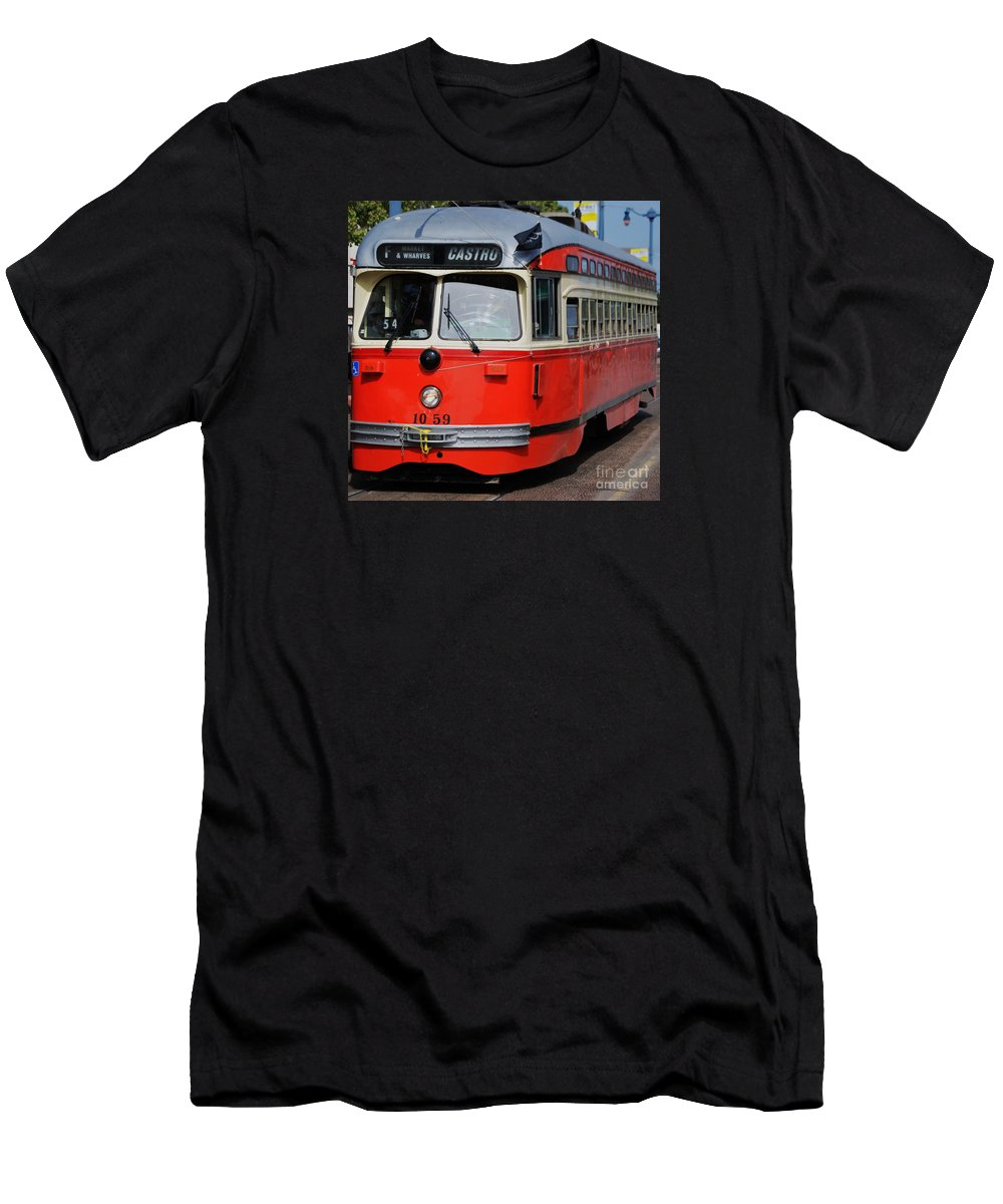 San Francisco Street Car Vintage Street Car Red And Cream Livery Destination Castro Urban Transportation Landmark Vehicle Tourism Windows Urban Art Signs Metal Frame Suggested Canvas Print Poster Print Available On Greeting Cards Pouches T Shirts Tote Bags Shower Curtains Mugs Weekender Tote Bags Throw Pillows Spiral Notebooks And Phone Cases Men's T-Shirt (Athletic Fit) featuring the photograph A Street Car Named Castro by Marcus Dagan