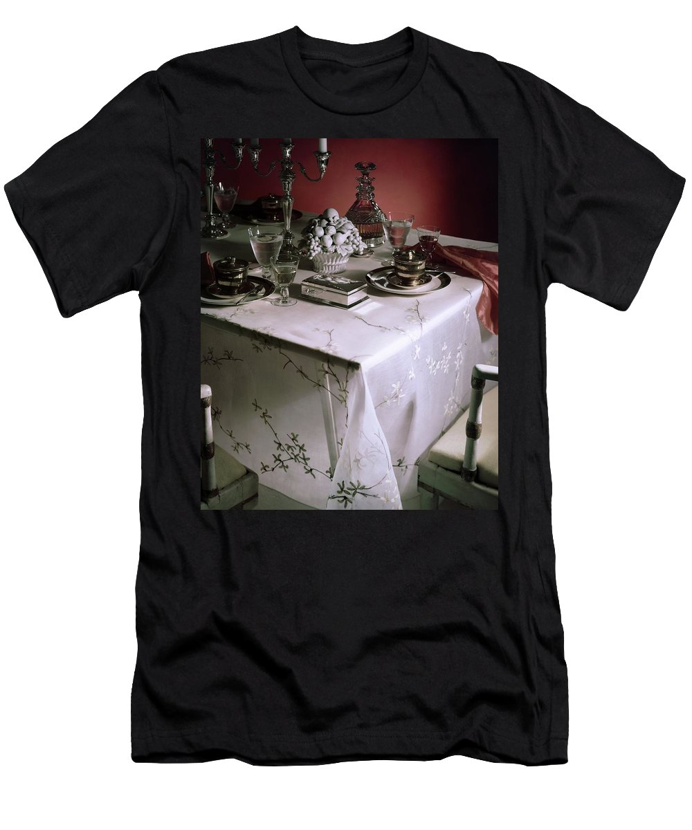 Indoors T-Shirt featuring the photograph A Table Set With Delicate Tableware by Horst P. Horst