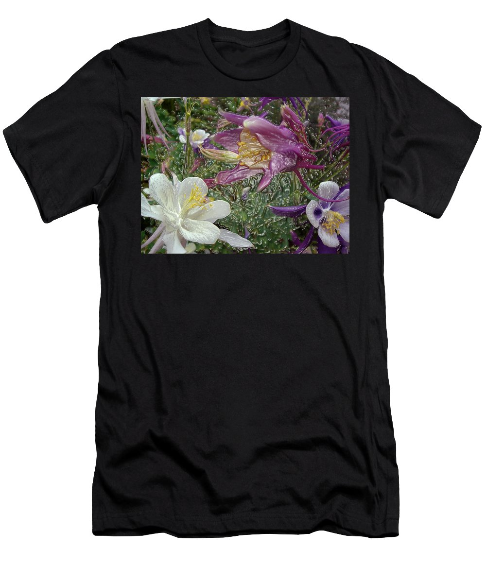 Pasadena City College Men's T-Shirt (Athletic Fit) featuring the photograph a taste of dew i do and PCC garden too   GARDEN IN SPRING MAJOR by Kenneth James