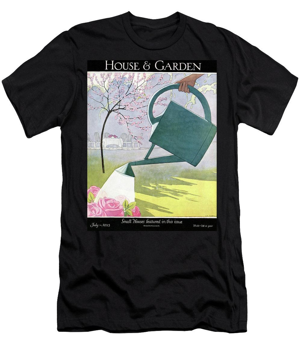 House And Garden T-Shirt featuring the photograph A Watering Can Above Pink Roses by Andre E Marty