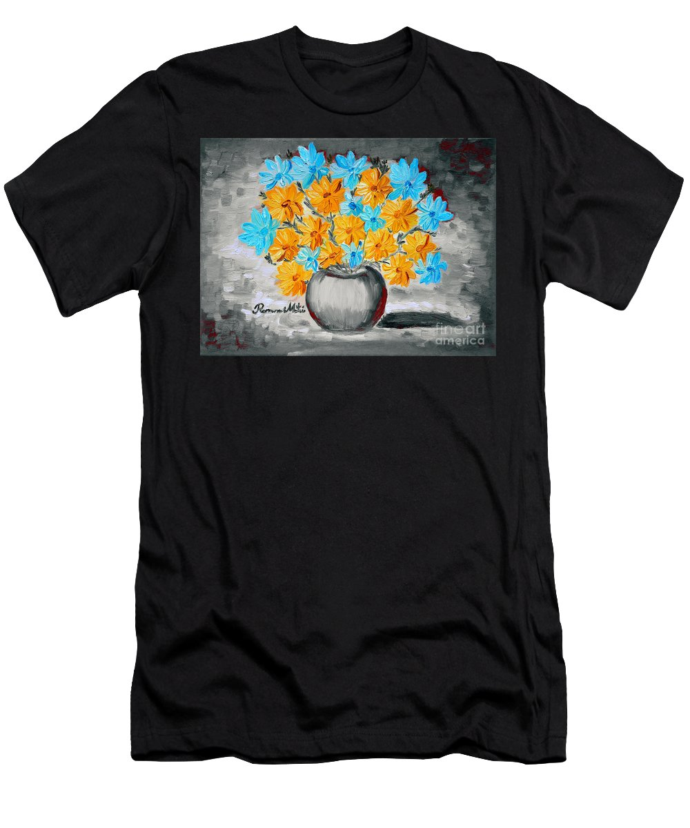 Daisies Men's T-Shirt (Athletic Fit) featuring the painting A Whole Bunch Of Daisies Selective Color II by Ramona Matei