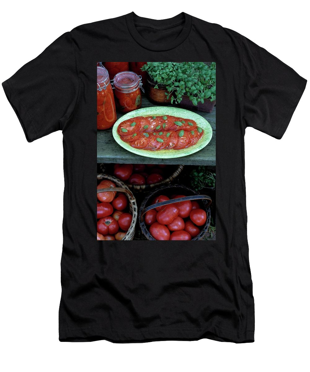 Food Men's T-Shirt (Athletic Fit) featuring the photograph A Wine & Food Cover Of Tomatoes by Susan Wood
