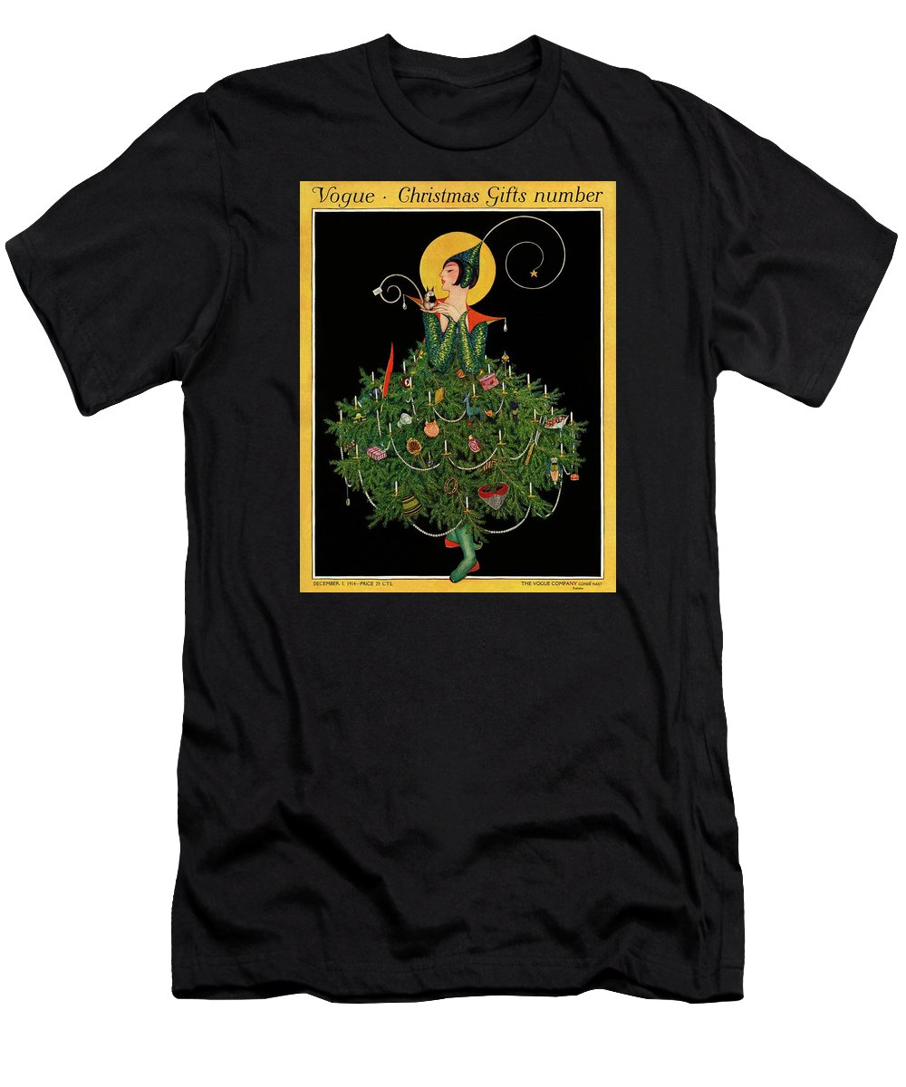 Illustration T-Shirt featuring the painting A Woman Dressed As A Christmas Tree by Artist Unknown