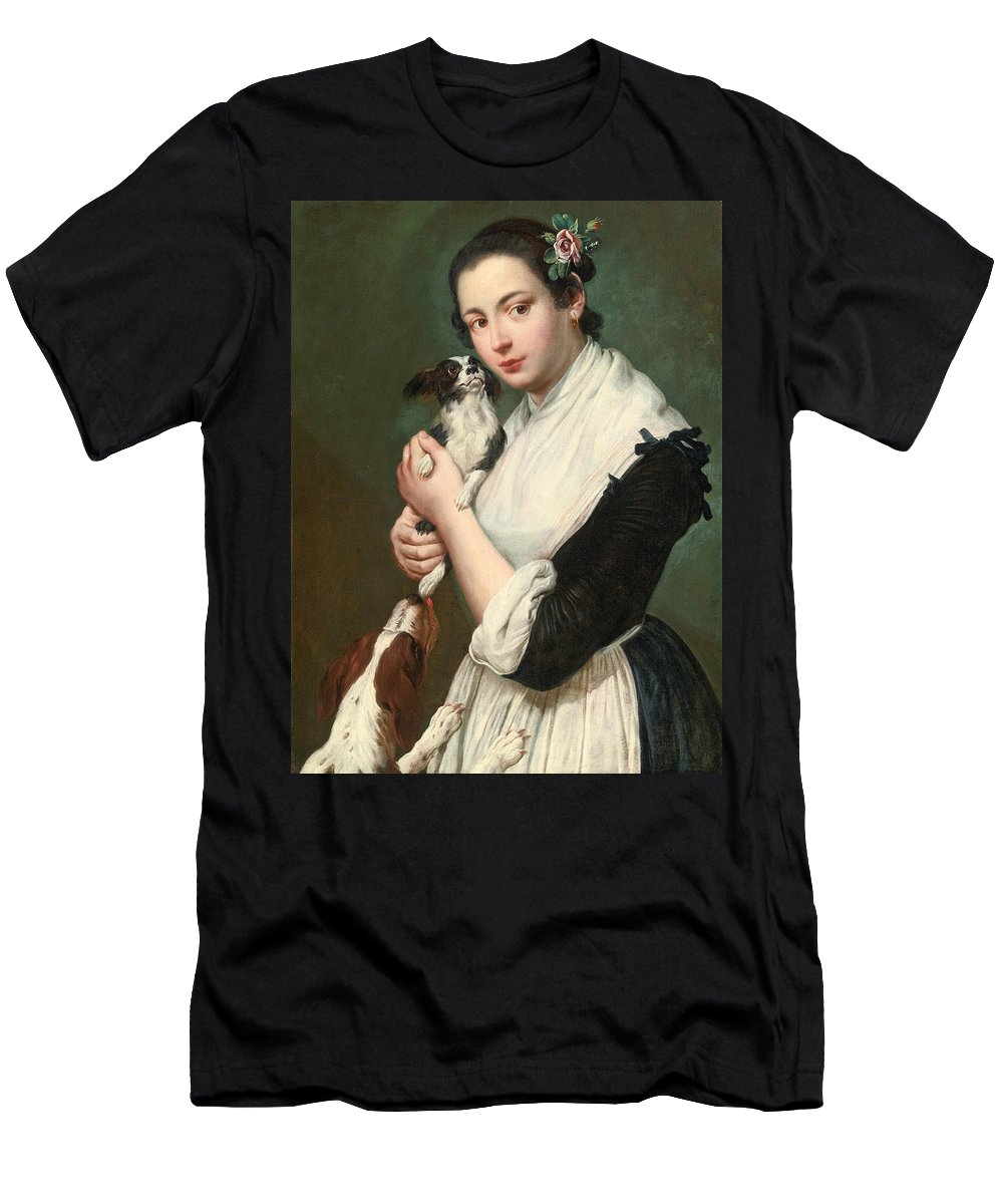 Giacomo Ceruti Men's T-Shirt (Athletic Fit) featuring the painting A Young Lady With Two Dogs by Giacomo Ceruti