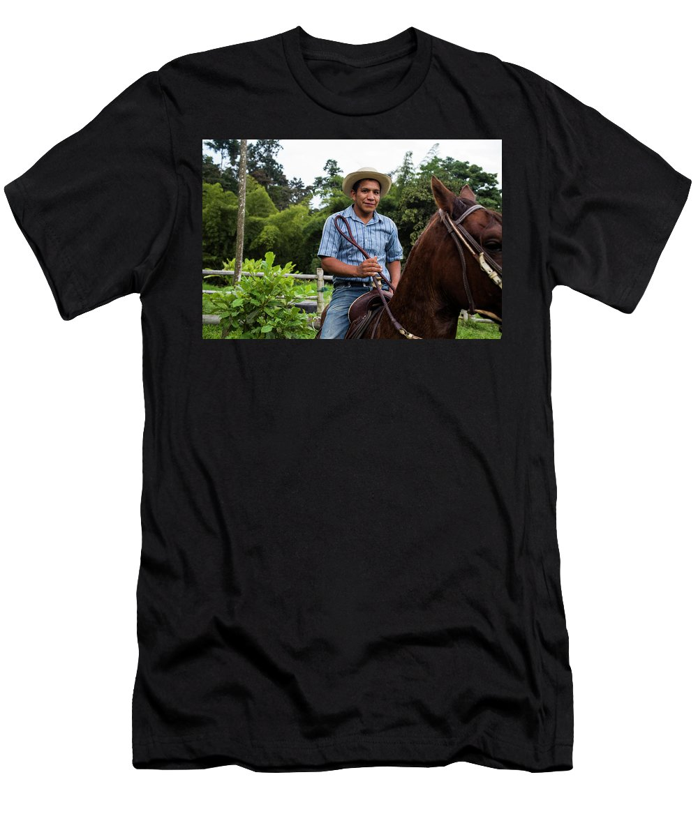 Horizontal Men's T-Shirt (Athletic Fit) featuring the photograph A Young Man Sits On A Horse And Smiles by Modoc Stories