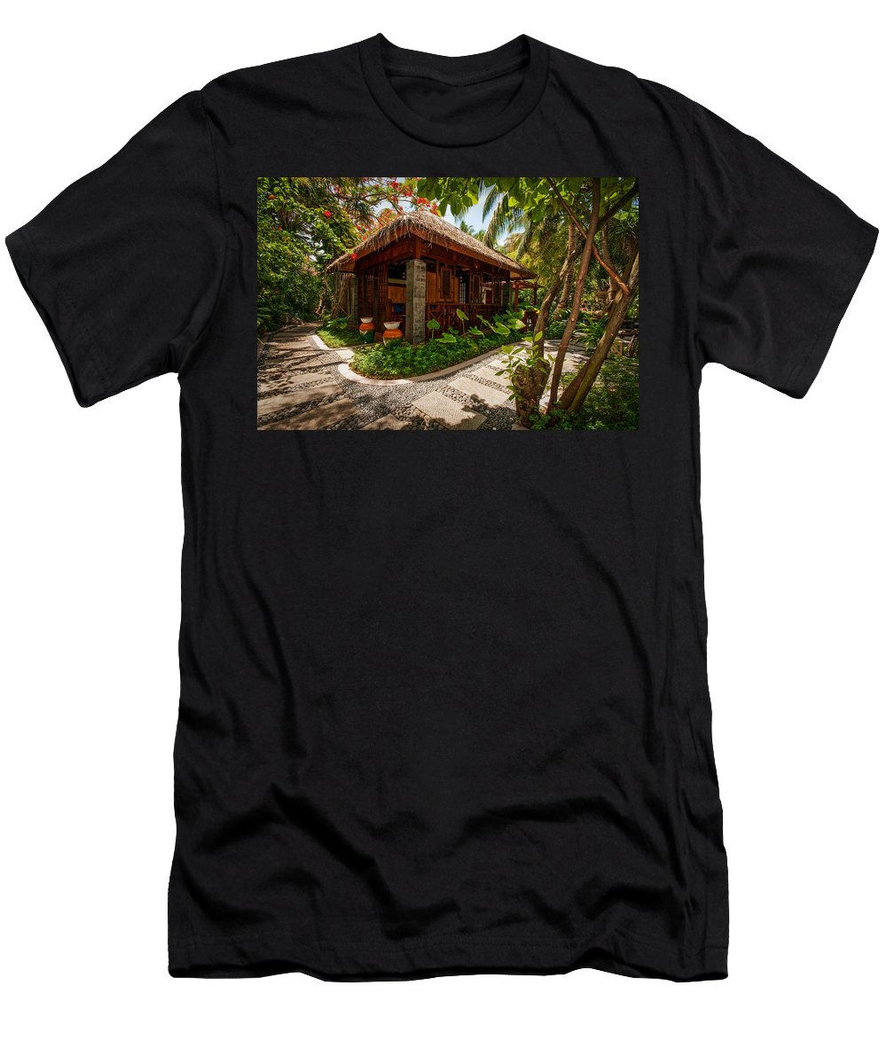 Resort Men's T-Shirt (Athletic Fit) featuring the photograph Aaramu Spa Hideaway In Tropical Garden. Maldives by Jenny Rainbow
