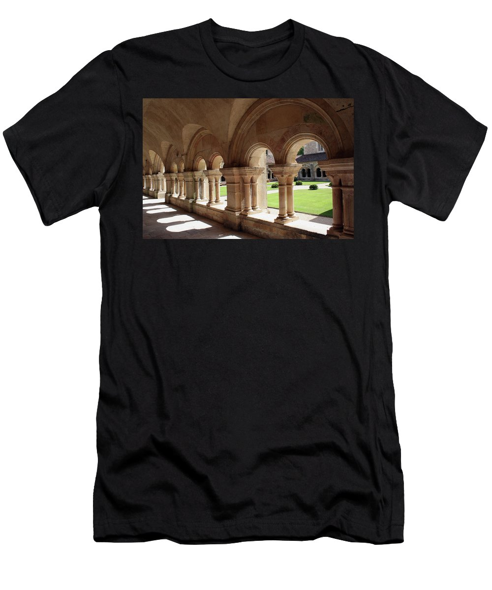 Cloister Vault Men's T-Shirt (Athletic Fit) featuring the photograph Abbey Fontenay - Cloister Vault by Christiane Schulze Art And Photography