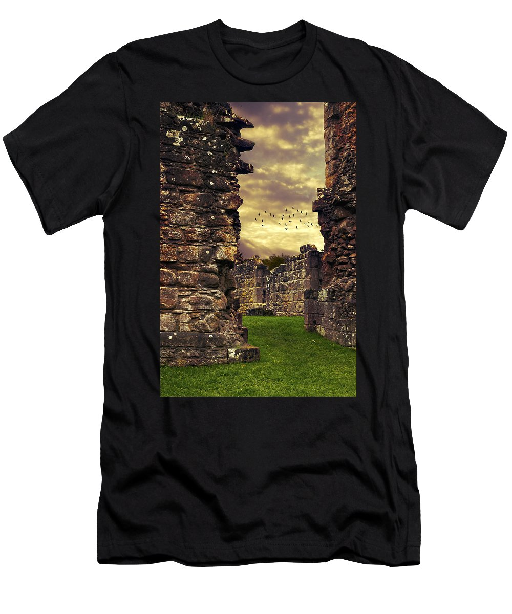 Abbey Men's T-Shirt (Athletic Fit) featuring the photograph Abbey Ruins by Amanda Elwell