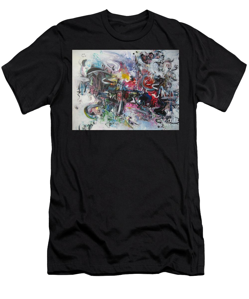 Abstract Landscape Paintings Men's T-Shirt (Athletic Fit) featuring the painting Abstract 00111 by Seon-Jeong Kim