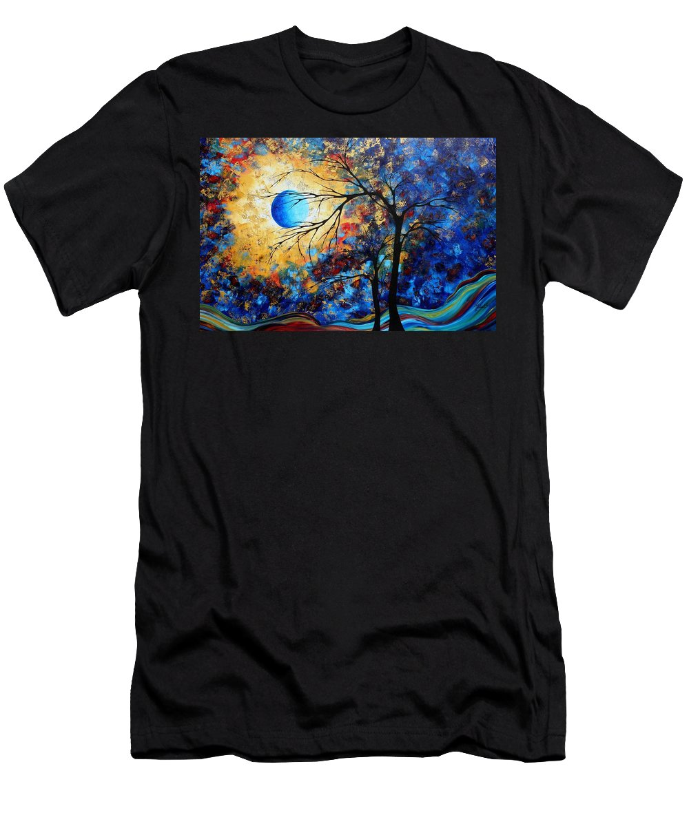 Abstract Men's T-Shirt (Athletic Fit) featuring the painting Abstract Art Landscape Metallic Gold Textured Painting Eye Of The Universe By Madart by Megan Duncanson