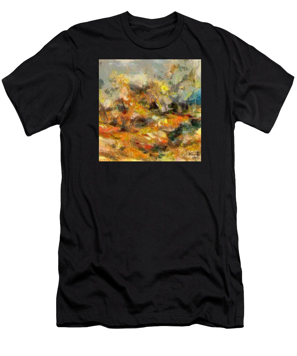 Abstract Autumn Men's T-Shirt (Athletic Fit) featuring the painting Abstract Autumn 2 by Dragica Micki Fortuna
