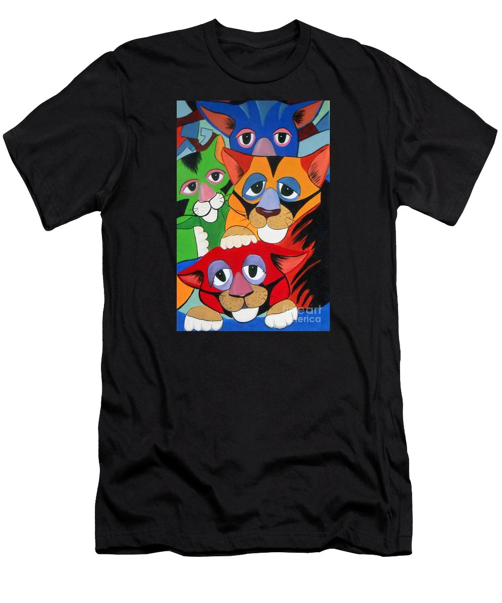 Cats. Colorful Men's T-Shirt (Athletic Fit) featuring the painting Abstract Colorful Sleepy Cats by Rita Drolet
