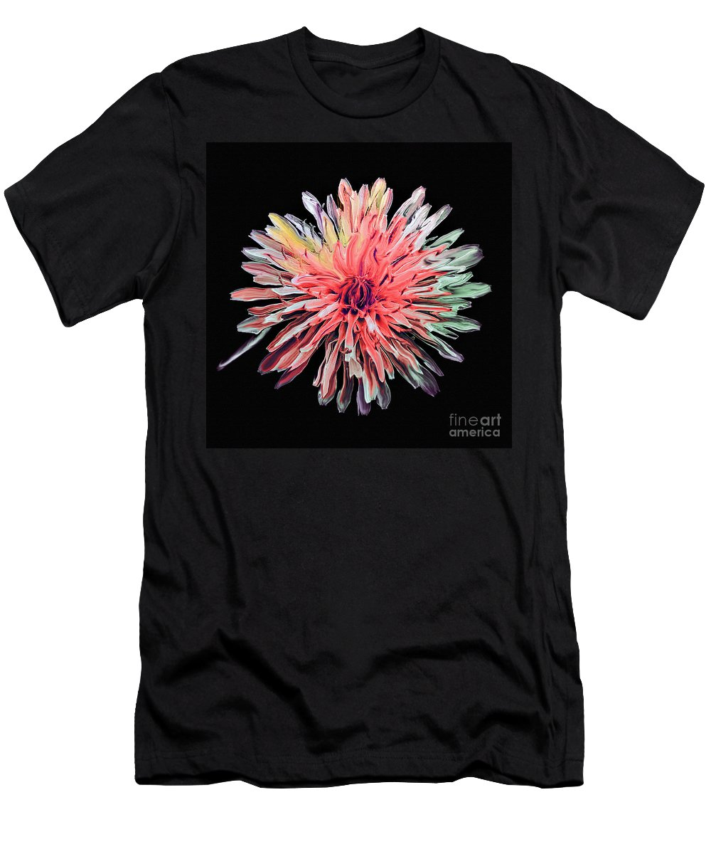 Abstract Men's T-Shirt (Athletic Fit) featuring the photograph Abstract Chrysanthemum by Bob and Nadine Johnston