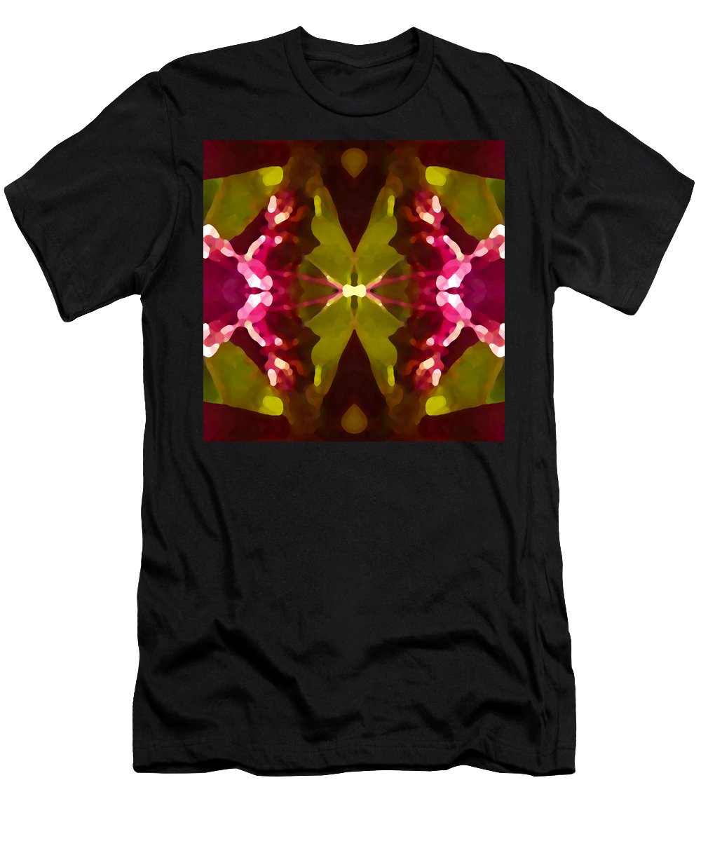 Contemporary Men's T-Shirt (Athletic Fit) featuring the painting Abstract Crystal Butterfly by Amy Vangsgard