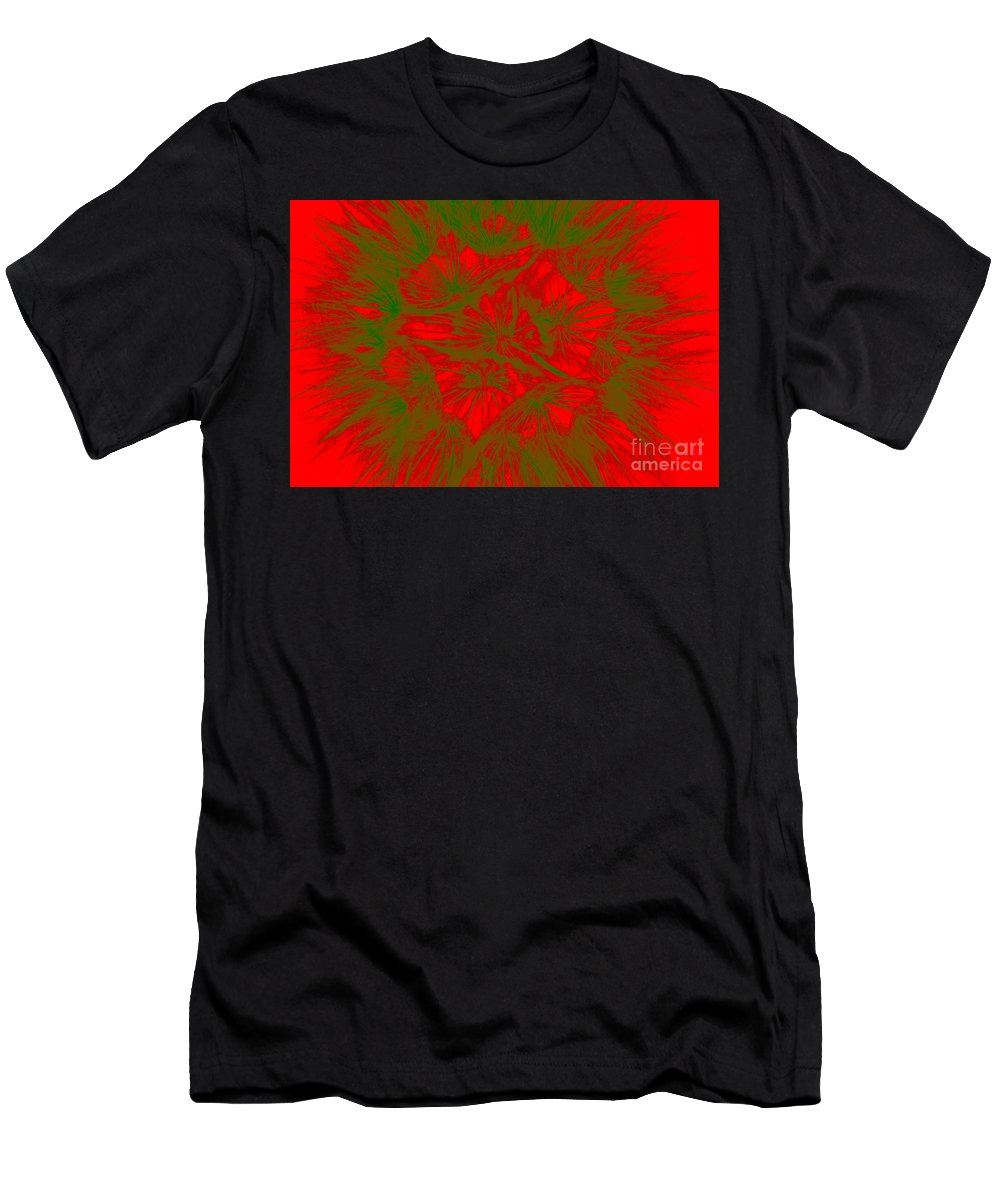 Abstract Dandelion Bloom Men's T-Shirt (Athletic Fit) featuring the photograph Abstract Dandelion Bloom by Mae Wertz
