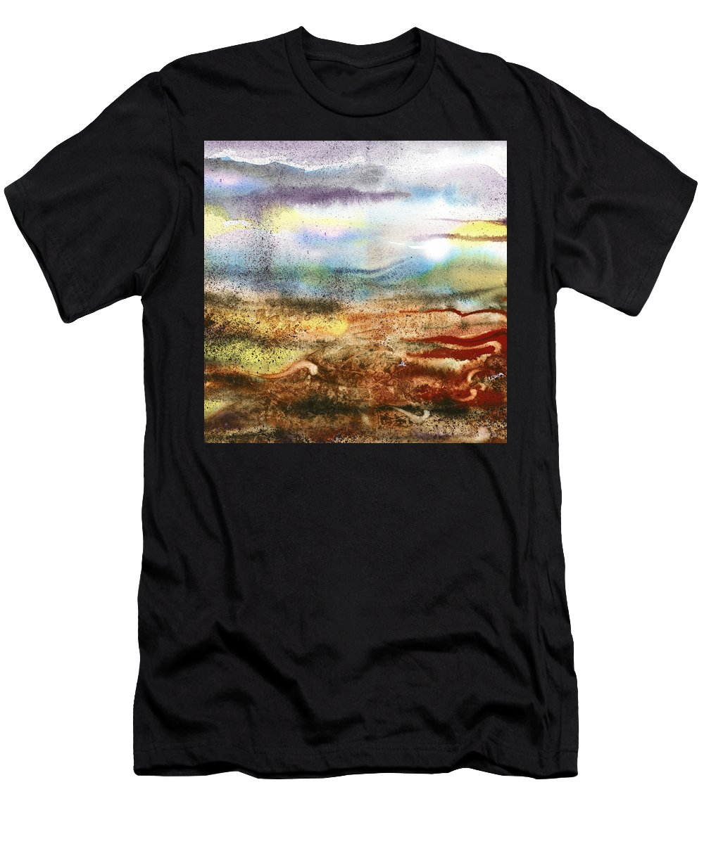 Abstract Men's T-Shirt (Athletic Fit) featuring the painting Abstract Landscape Morning Mist by Irina Sztukowski