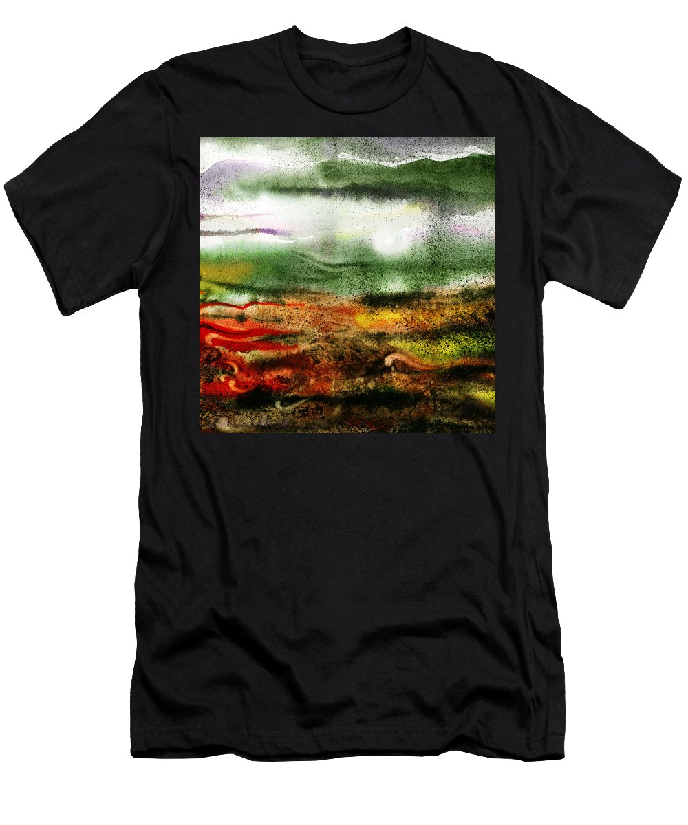 Abstract Men's T-Shirt (Athletic Fit) featuring the painting Abstract Landscape Sunrise Sunset by Irina Sztukowski
