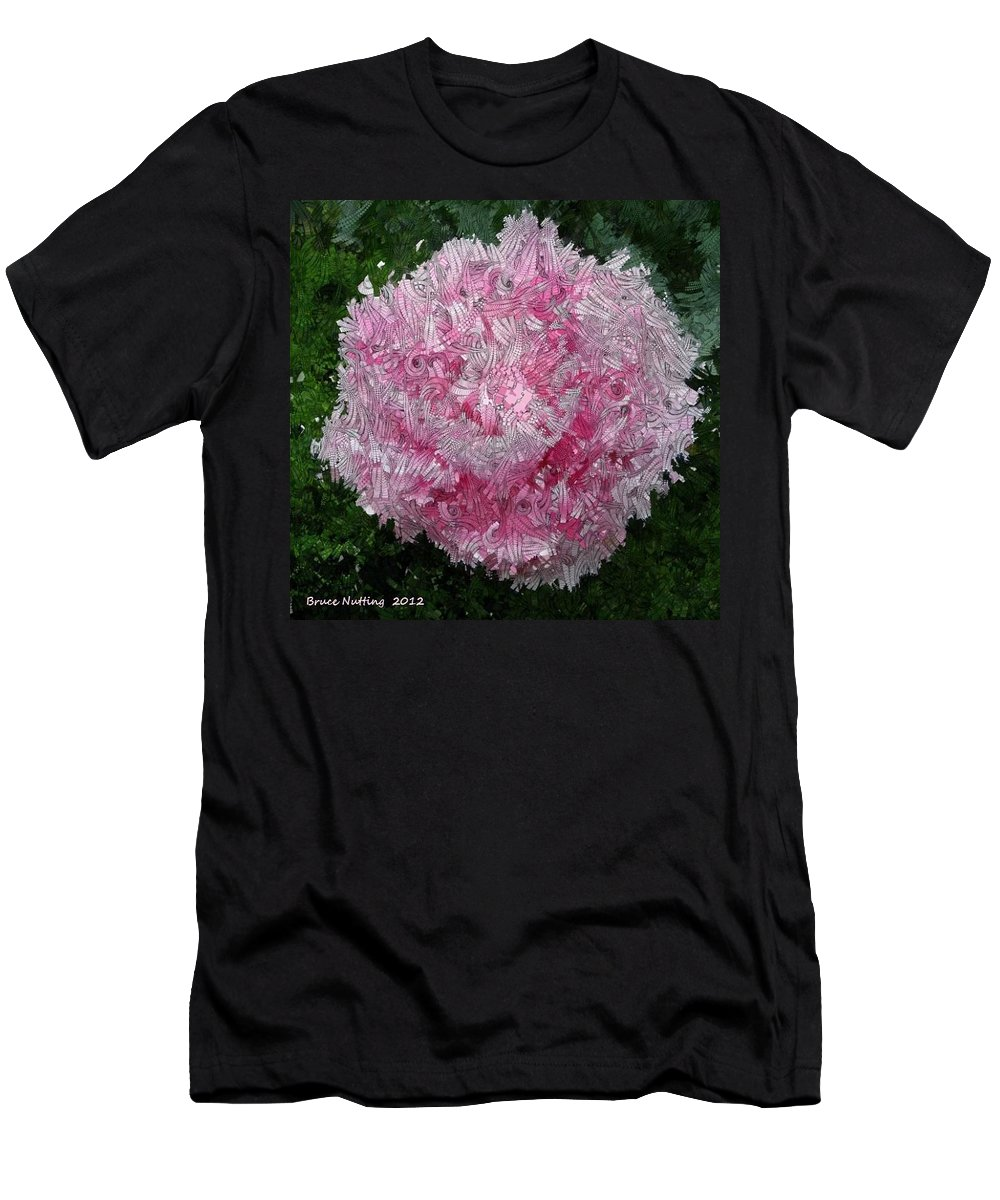 Pink Men's T-Shirt (Athletic Fit) featuring the painting Abstract Pink Flower by Bruce Nutting