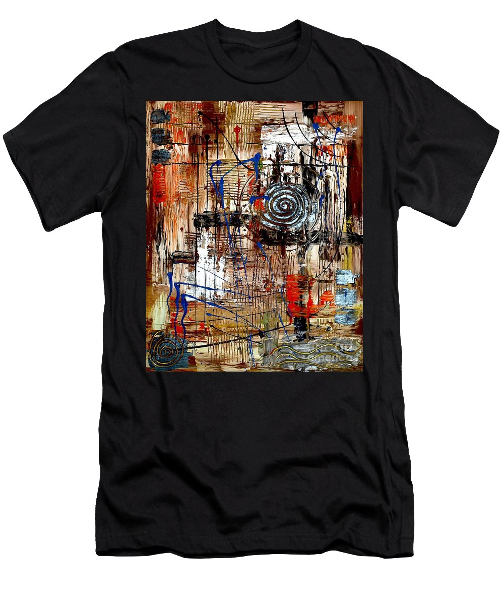Abstraction Men's T-Shirt (Athletic Fit) featuring the painting Abstraction 758 - Marucii by Marek Lutek