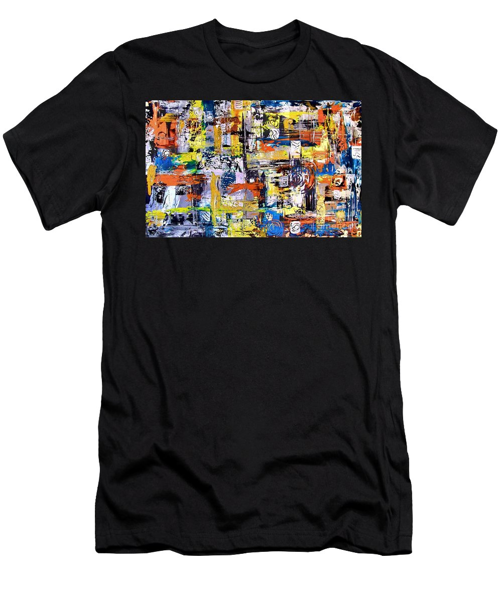 Abstraction Men's T-Shirt (Athletic Fit) featuring the painting Abstraction 759 - Marucii by Marek Lutek