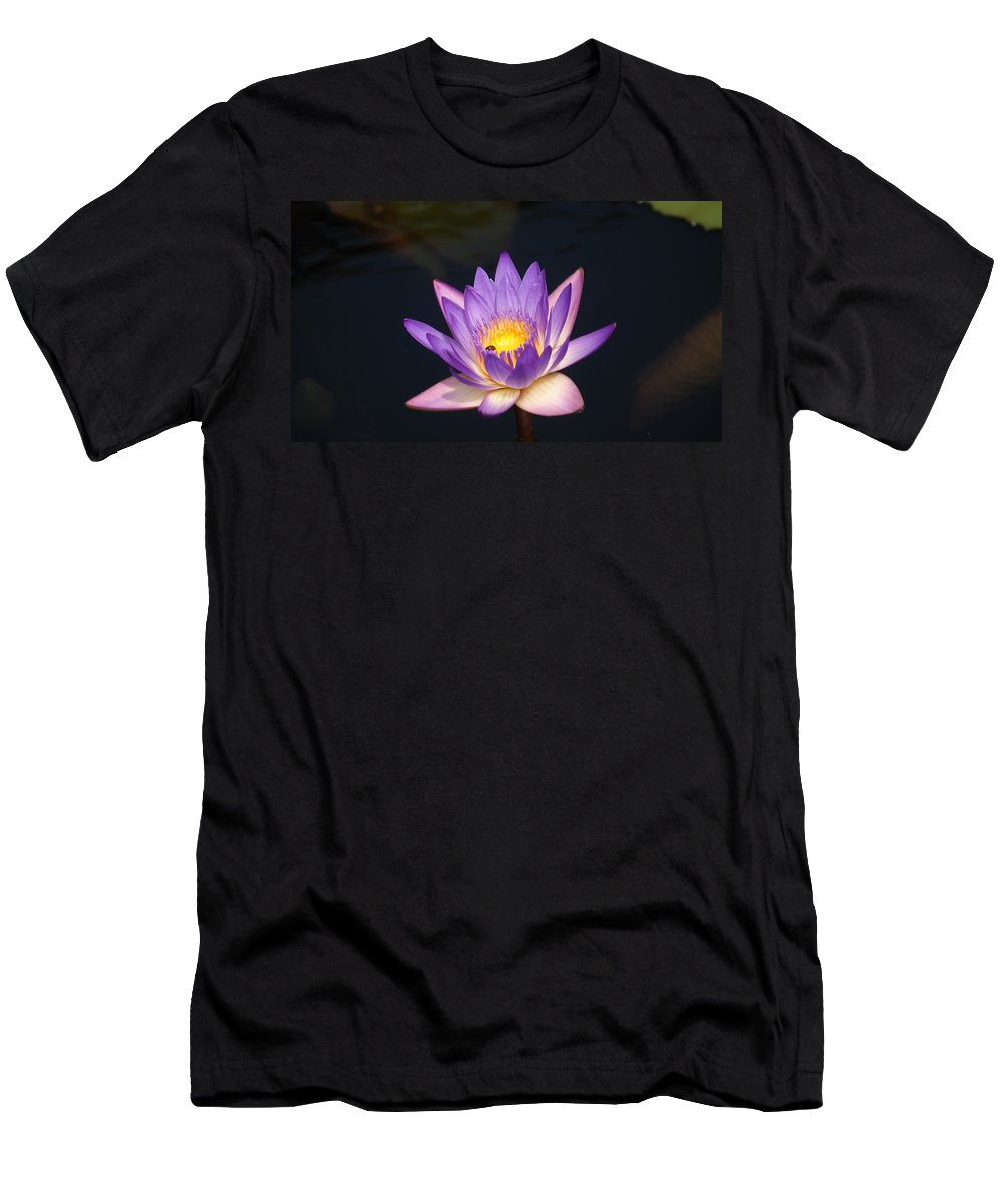 Purple Men's T-Shirt (Athletic Fit) featuring the photograph Accents On A Purple Waterlily... by Rob Luzier