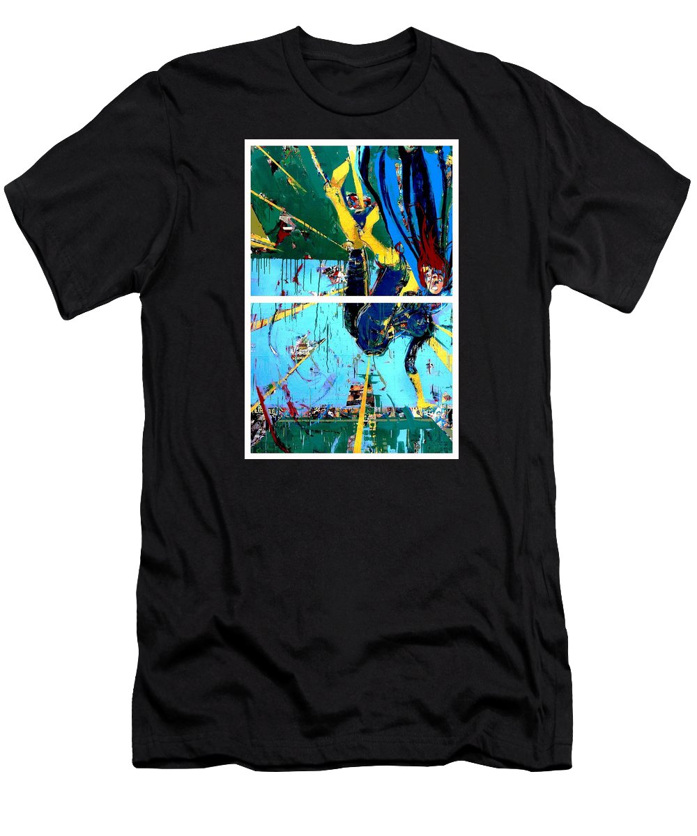 Abstract Art Paintings Men's T-Shirt (Athletic Fit) featuring the painting Action Abstraction No. 21 by David Leblanc