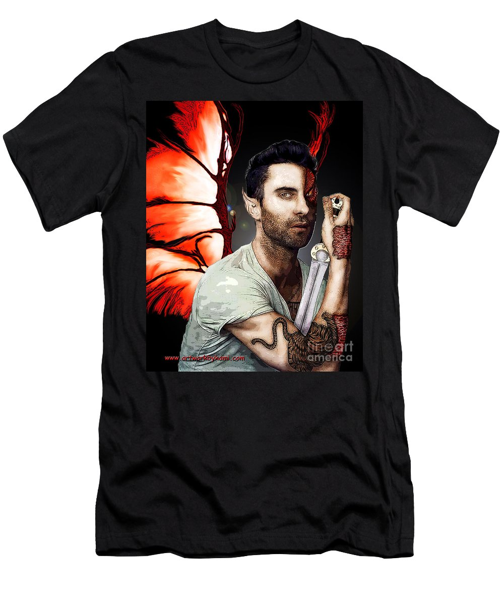 Adam Levine Men's T-Shirt (Athletic Fit) featuring the painting Adam Dragon Warrior by Kami Catherman