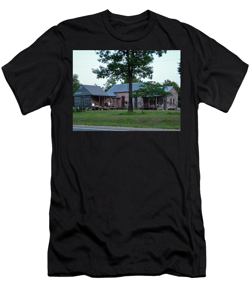 Log Cabin Men's T-Shirt (Athletic Fit) featuring the photograph Log Cabins And House by Susan Wyman
