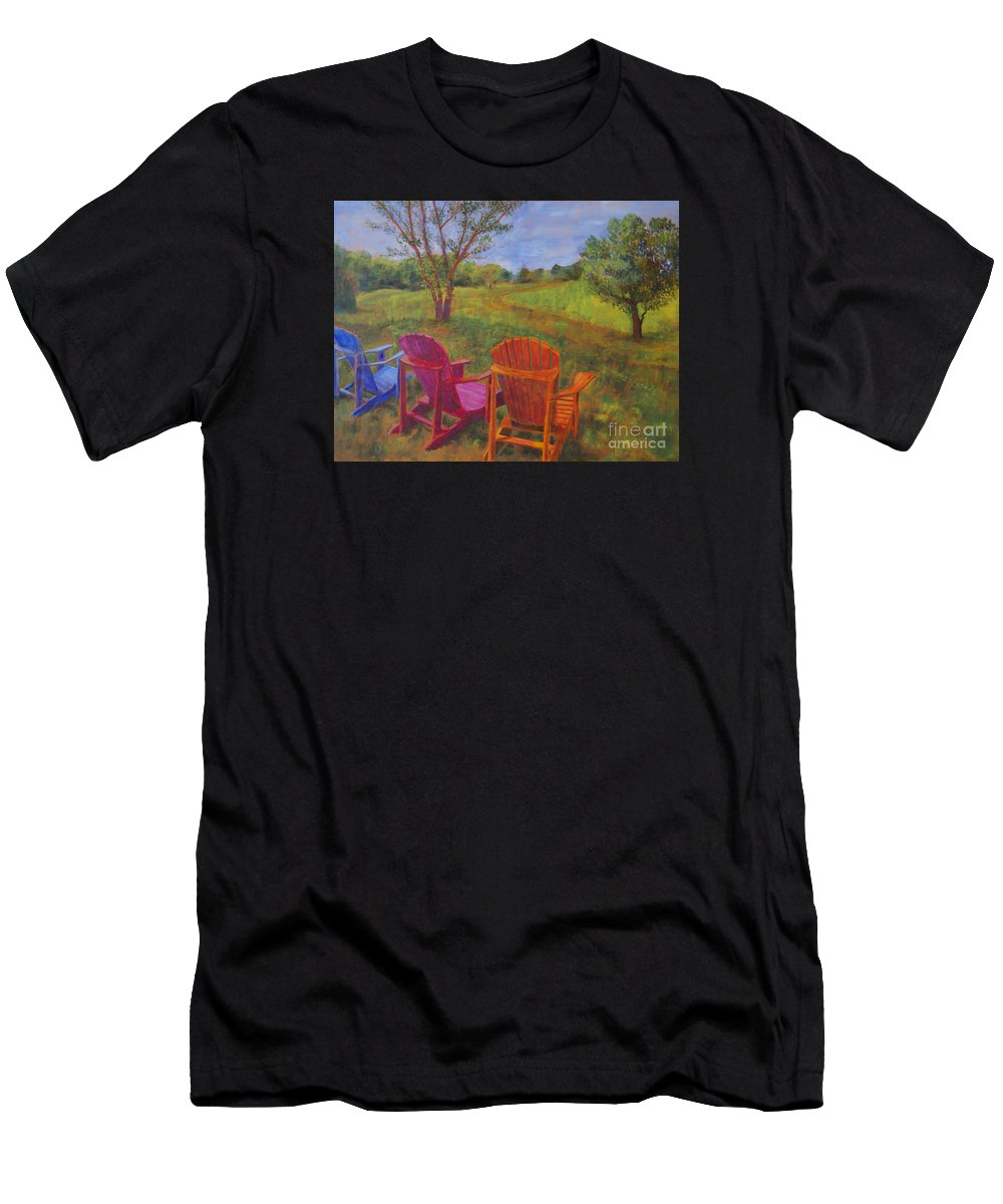 Landscapes Men's T-Shirt (Athletic Fit) featuring the painting Adirondack Chairs In Leiper's Fork by Arthur Witulski