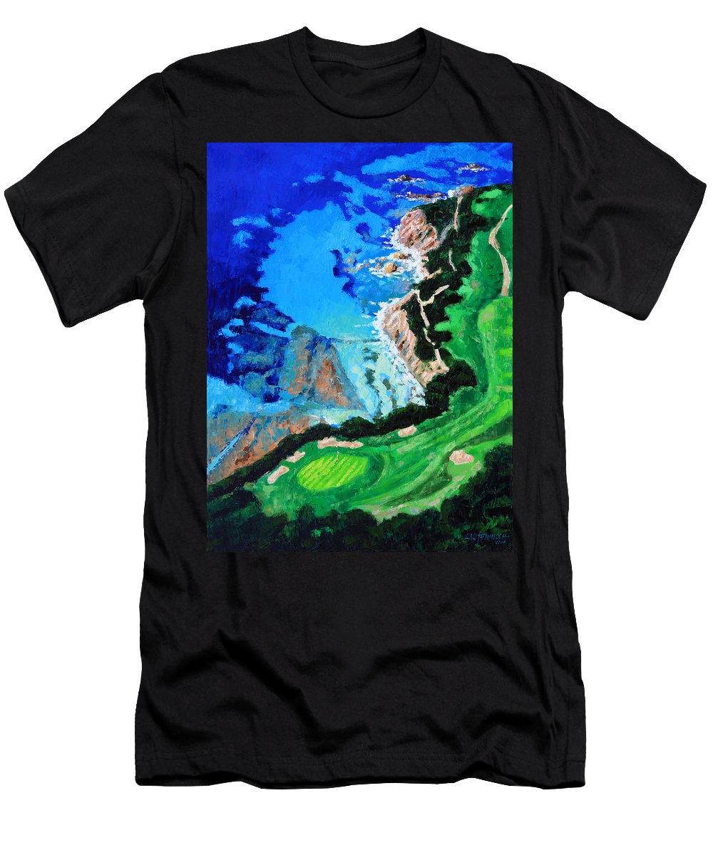 Pebble Beach Men's T-Shirt (Athletic Fit) featuring the painting Aerial View Of Pebble Beach by John Lautermilch
