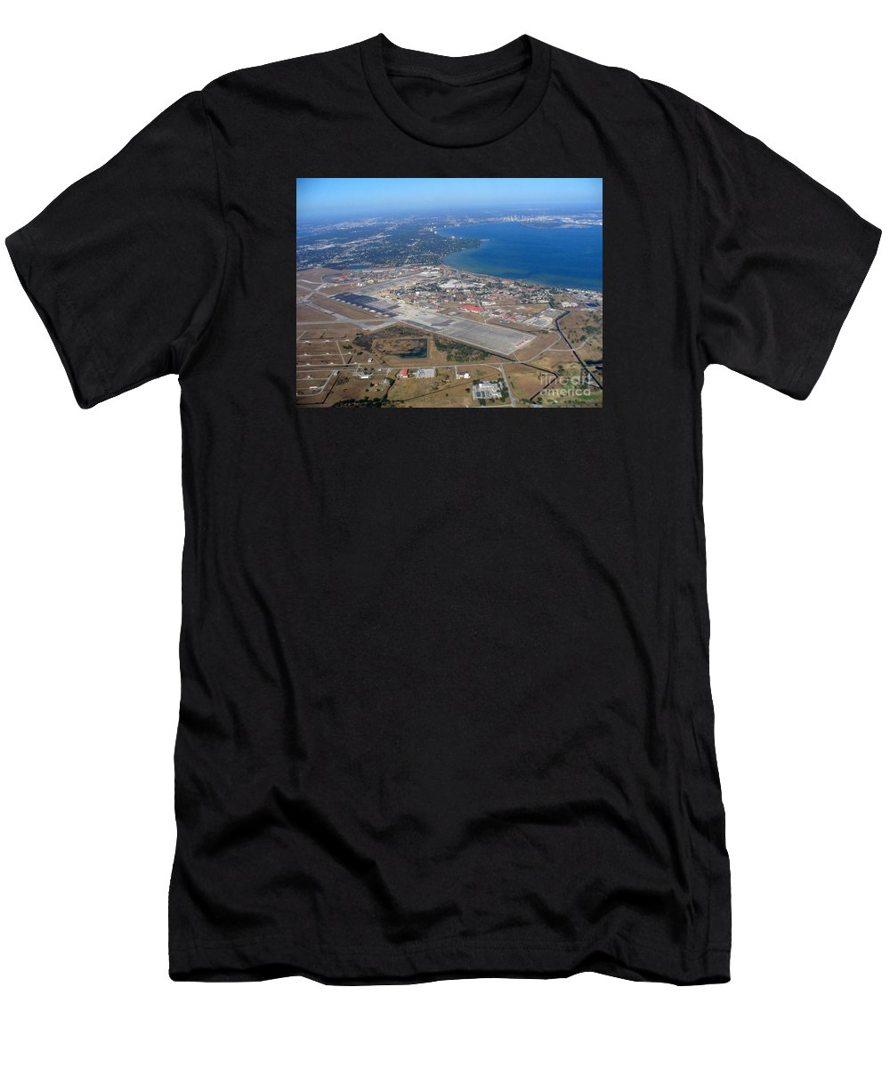 Skyline Men's T-Shirt (Athletic Fit) featuring the photograph Aerial View Of Tampa And St. Petersburg by Lingfai Leung
