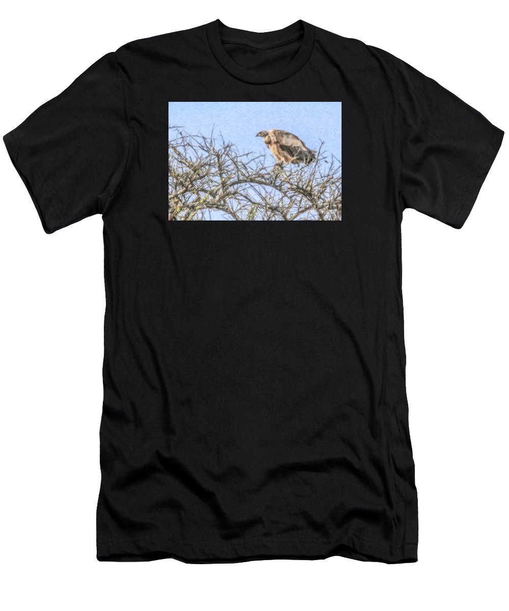 African White-backed Vulture Men's T-Shirt (Athletic Fit) featuring the digital art African White-backed Vulture by Liz Leyden