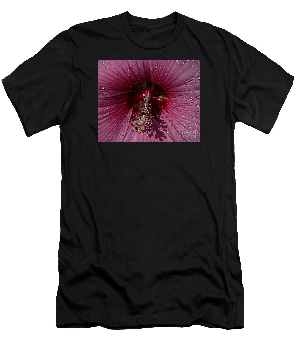 Flower Men's T-Shirt (Athletic Fit) featuring the photograph After A Rain by Kathy DesJardins