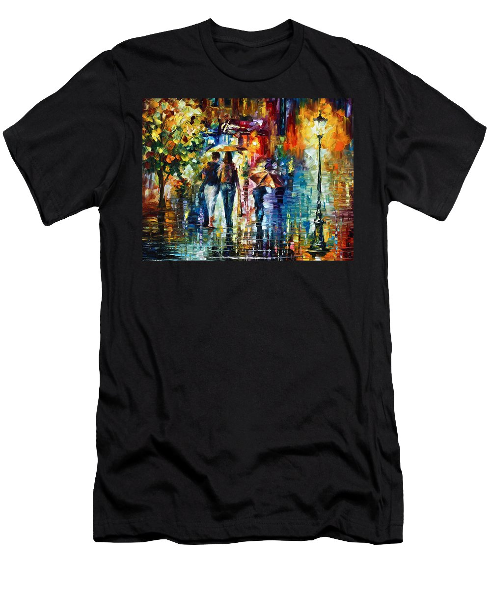 City Men's T-Shirt (Athletic Fit) featuring the painting After Hours by Leonid Afremov