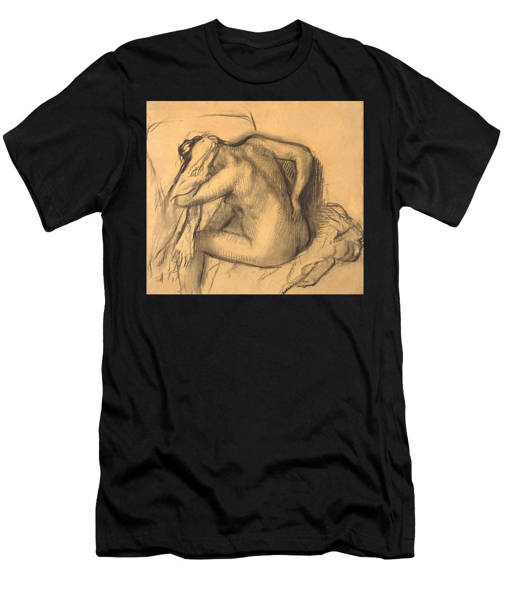 Edgar Degas Men's T-Shirt (Athletic Fit) featuring the drawing After The Bath .woman Drying Her Hair by Edgar Degas