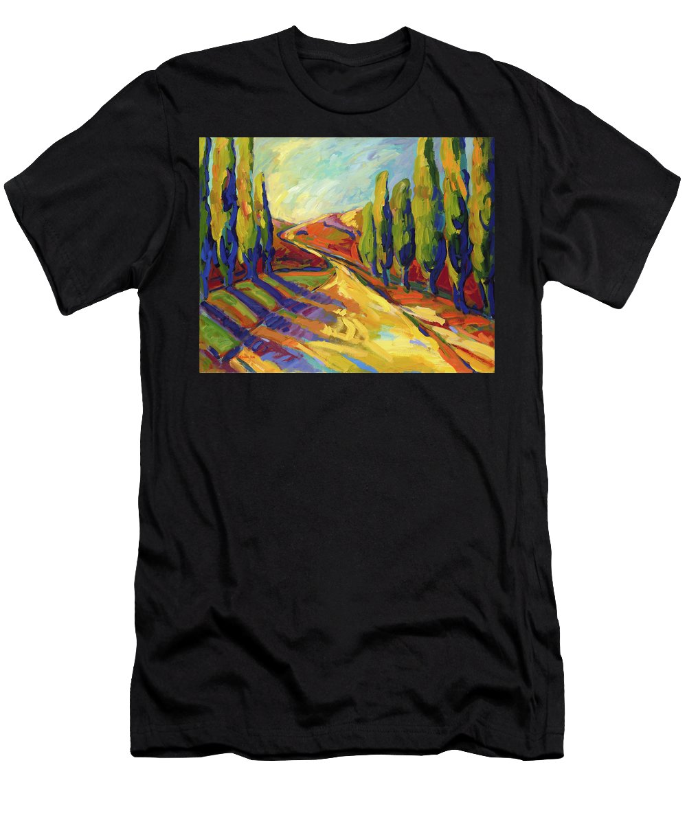 Landscapes Men's T-Shirt (Athletic Fit) featuring the painting Afternoon Shadows by Konnie Kim